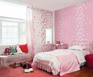 pink, bedroom, and girls image