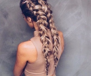 blonde, hairstyles, and long hair image