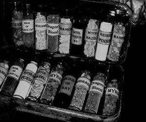 black and white, poison, and potion image