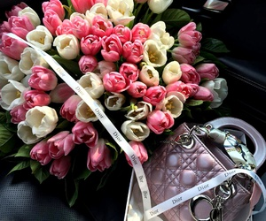 flowers, bag, and dior image