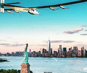 airplane, new york, and nyc image