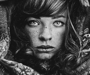 black and white, photography, and portrait image