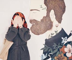 girl, hijab, and art image