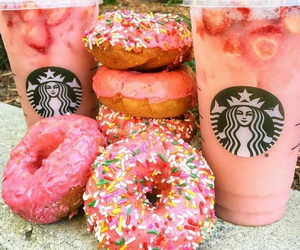 food, starbucks, and donuts image