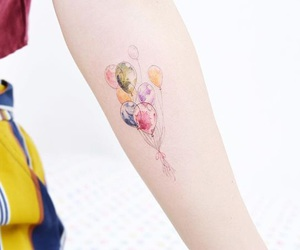 tattoo, balloons, and colorful image