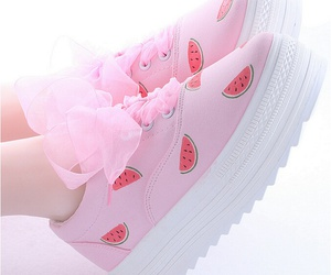 pink, shoes, and watermelon image