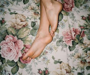 feet, rose, and vintage image