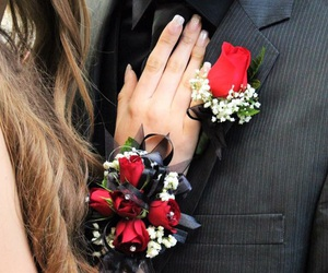 black, corsage, and couple image