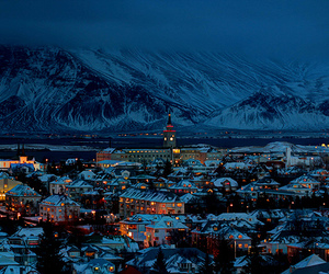 city, snow, and lights image