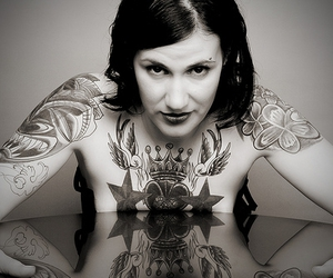 black and white, tattoo, and photograph image