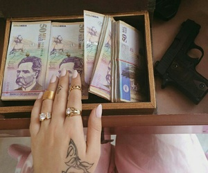 money, nails, and tattoo image