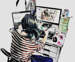 anime, girl, and computer image