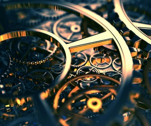 clock, gear, and gold image