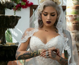 septum piercing, white lace dress, and wedding dress image