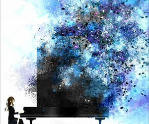 anime, piano, and anime art image