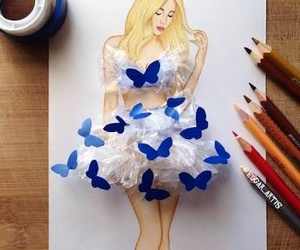 butterfly, art, and dress image