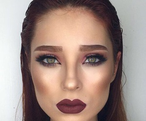 brunette, contour, and lipstick image