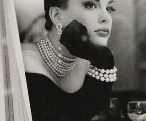 liv tyler, black and white, and pearls image