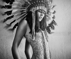 b&w, native american, and beautiful image