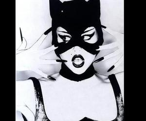 black and white, cat women, and girl image