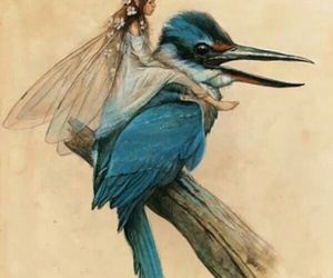fairy, bird, and blue image