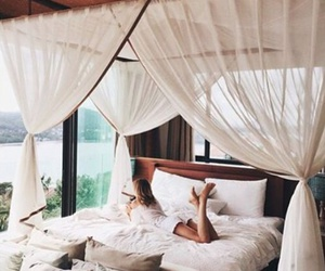 bed, summer, and white image
