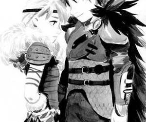 astrid, hiccup, and black and white image