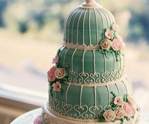 cake, wedding cake, and bird cage image