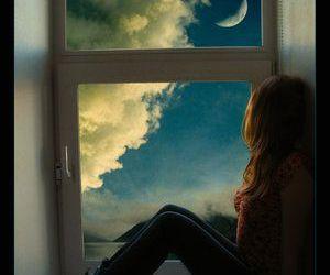 girl, moon, and window image