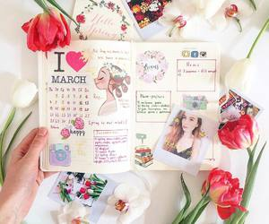 art, diary, and flowers image