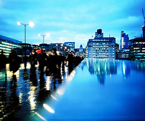 blue, blurry, and city image