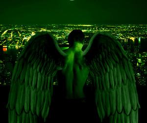 angel, wings, and green image