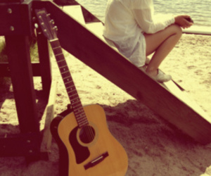 guitar, girl, and beach image