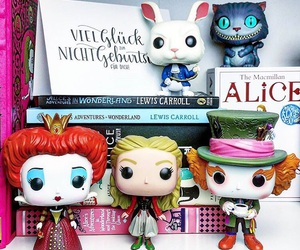 alice in wonderland, books, and bookshelves image