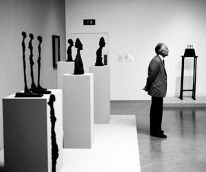 black and white and museum image