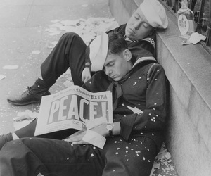 peace, black and white, and ww2 image