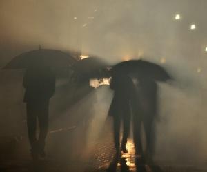 rain, umbrella, and fog image