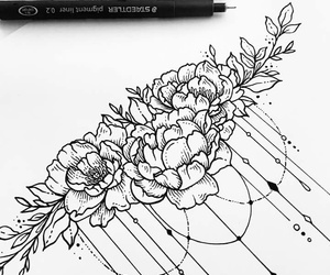 draw, flowers, and sollefe image