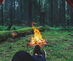fire, camping, and forest image