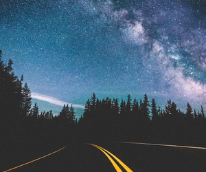 road, night, and stars image