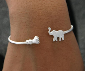 elephant, bracelet, and silver image