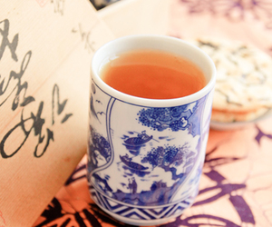 cha, cup, and floral image