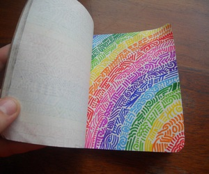 doodles, notebook, and rainbow image