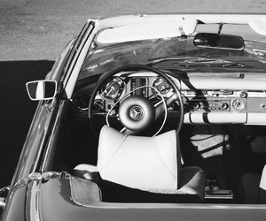 black and white, car, and classic image
