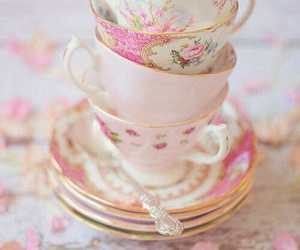 pink, vintage, and cup image