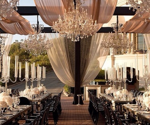 wedding, beautiful, and chandelier image
