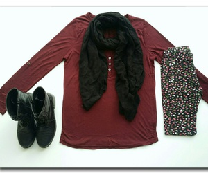 black scarf, lace boots, and floral leggings image