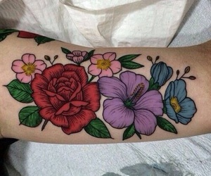 colorful, flowers, and tattos image