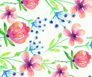 background, flowers, and watercolor image