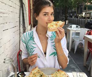 girl, food, and pizza image